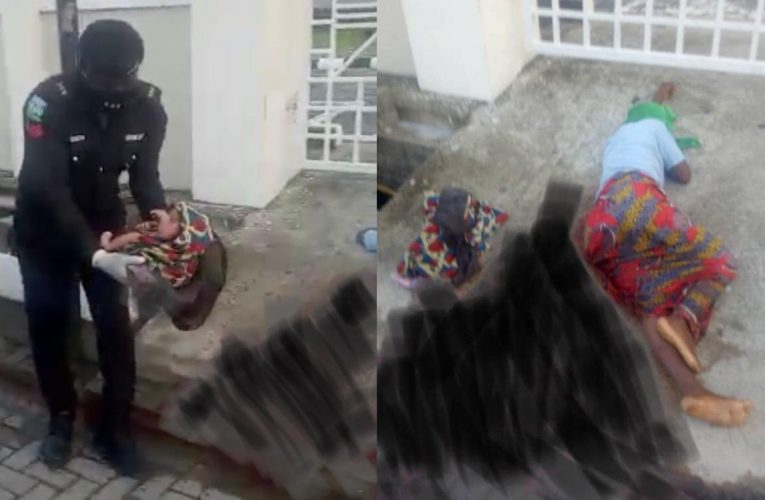 Homeless mother-of-four is rescued by the police after she gave birth by the roadside…