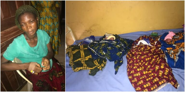 Woman with 5 kids gives birth to quadruplets, husband absconds (Photos)…