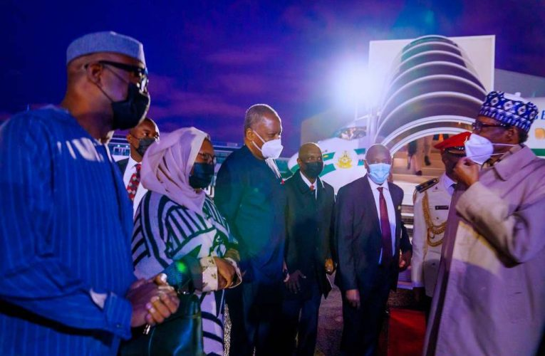 PHOTOS: President Buhari arrives France ahead of African Finance Summit…