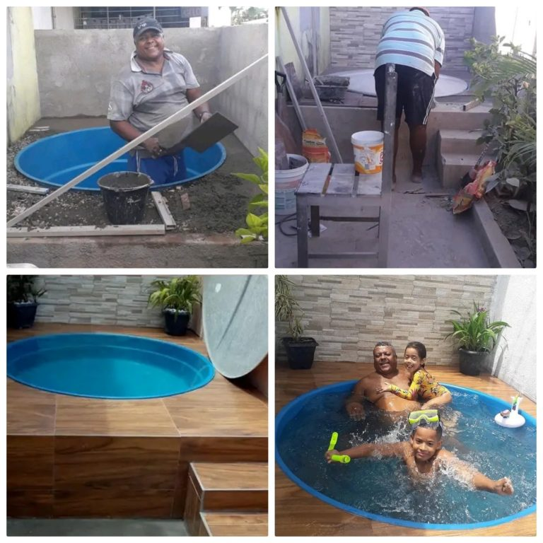 Photos: A Father Couldn't Afford A Swimming Pool, But See What He Did To Make His Family Happy…